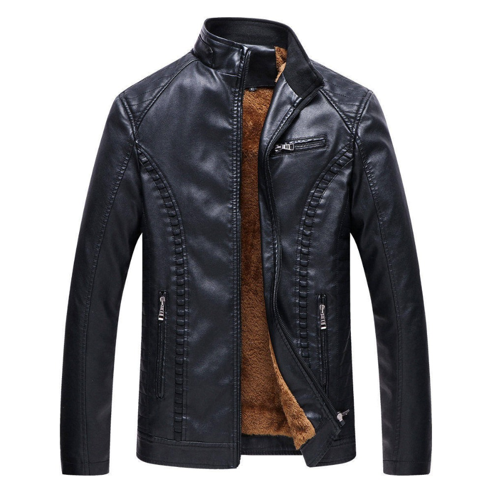 Bolubao 2018 New Winter Males Motorbike Maintain Heat Leather-based Jackets Trend Model Males's Fleece Strong Shade Leather-based Jacket Coat