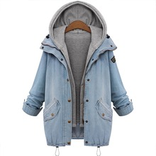 Plus size women warm thick casual long sleeve denim jacket coat two piece hooded button outwear with pockets femme jean jacket