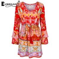 Everkaki Summer Lotus Dress Women Boho Mini Dress Gypsy Collective Long Sleeve Print Dress V Neck