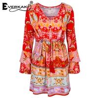 Everkaki Sommer Lotus Kleid Frauen Boho Minikleid Gypsy Kollektiven Print Kleid Langarm V-ausschnitt Hohe Taille Casual vestidos