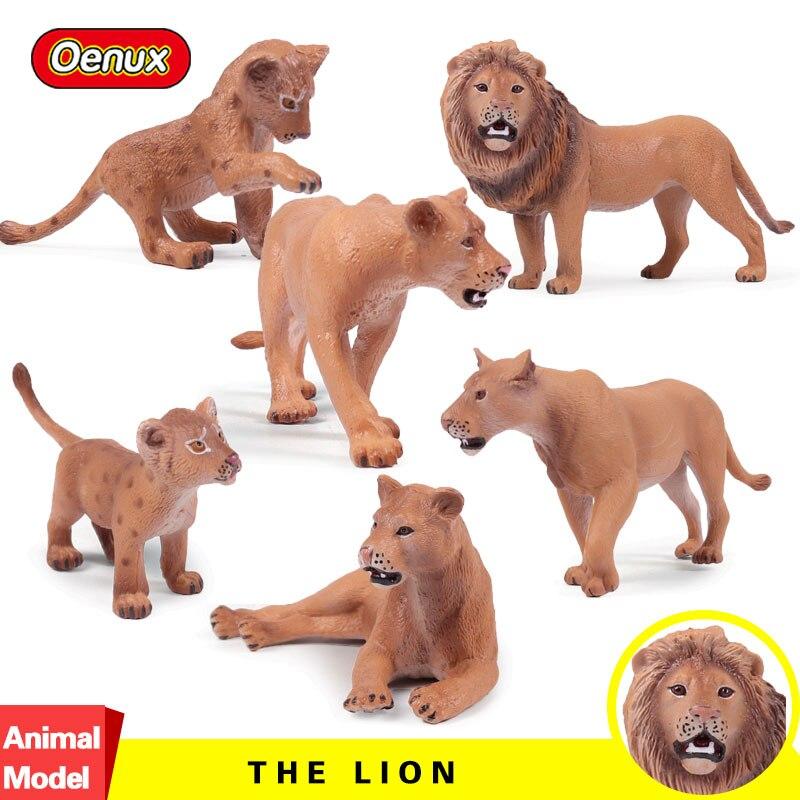 Oenux 6PCS/Set Africa Lions Simulation Model Action Figures Wild Beast Male Lion Animals
