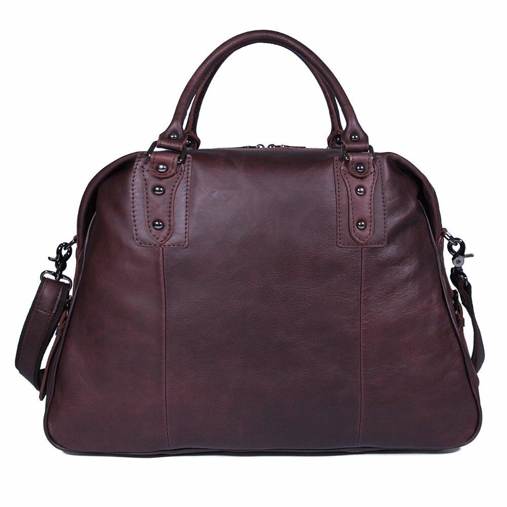 J.M.D Genuine Vintage Cowhide Leather Duffle Bag Unisex Handbags Tote Travel Bags 7071C-1