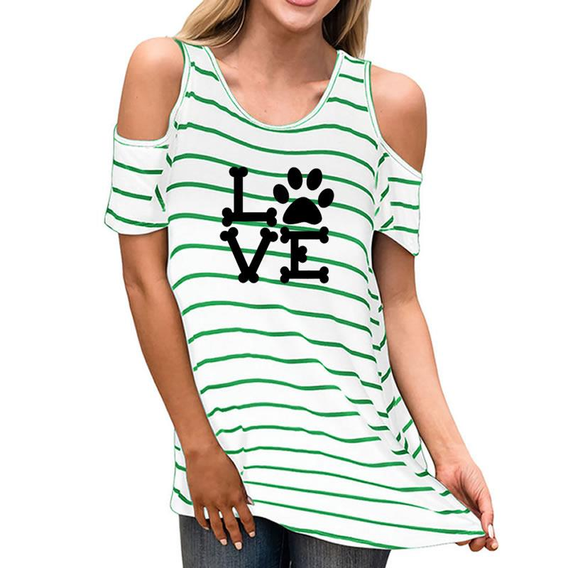 Women T-shirt 2018 New Fashion Dog Cat Paw Heart Cute Tumblr Kawaii O-neck Strapless Sleeve Striped Short Sleeve T-shirt