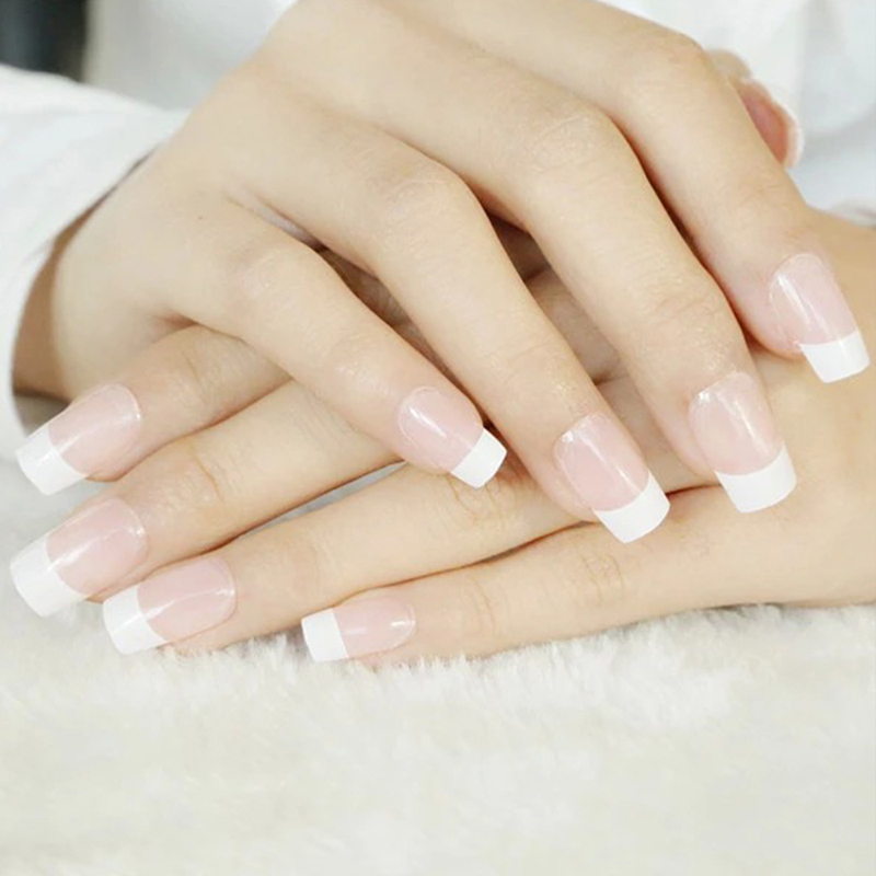 Perfect Summer Frech Manicure False Nail Wide White unhas posticas ...