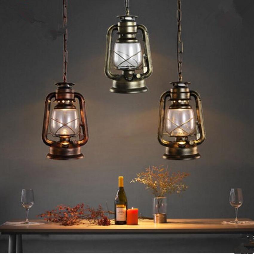 Vintage pendant light Kerosene modelling LED lantern lamp iron glass LOFT ceiling hanging decoration lighting fixture AC110-265V one light frosted glass antique rust hanging lantern