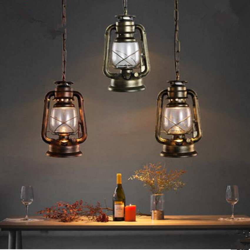 Vintage pendant lights Kerosene modelling LED lantern lamp hanging light fixture