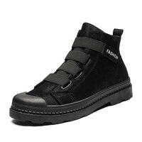 YOYLAP New Men Boots Autumn Winter Martin boots Ankle boot Fashion Side Zipper Men Motorcycle boots Black