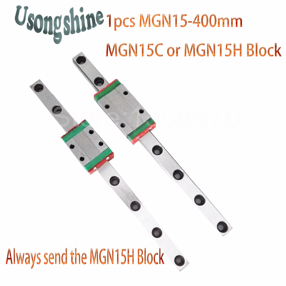 15mm for Linear Guide MGN15 400mm L= 400mm for linear rail way + MGN15C or MGN15H for Long linear carriage for CNC X Y Z Axis 15mm linear guide mgn15 l 400mm linear rail way mgn15h long linear carriage for cnc x y z axis free shipping