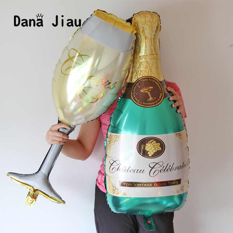 36 inch Large Champagne Wine Bottle Cup Wedding Anniversary Party Aluminium Foil Balloon Decoration Gift Inflatable Air Ball
