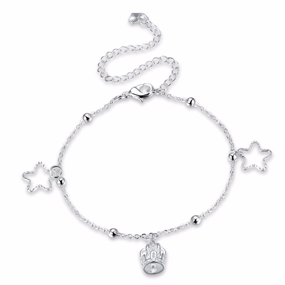 silver jewelry ankle peace cz pave anklet real sterling bling bracelets bracelet pk sign encrusted