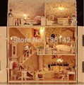 13808 large castle voice light diy dollhouse miniature big villa wooden doll house miniatures for decoration toys girls