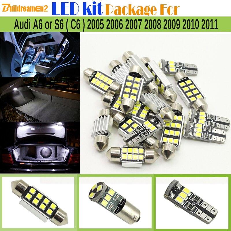 Buildreamen2 Car Interior 2835 LED Chip Kit Pacchetto Canbus HA CONDOTTO La Lampadina Della Cupola del Portello della Luce Della Targa Per Audi A6 S6 (C6) 2005-2011