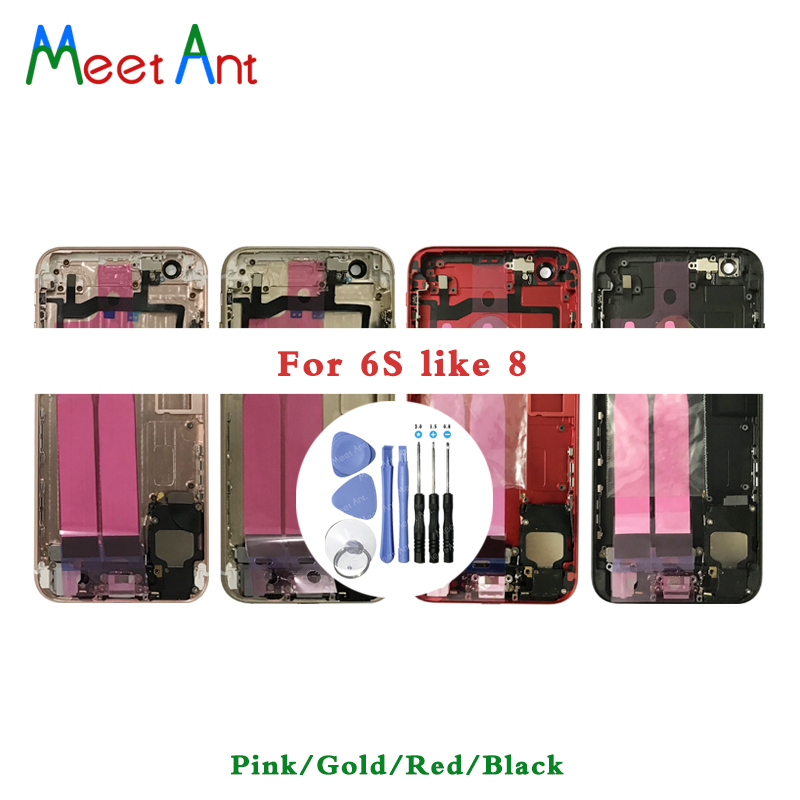 High Quality Back Middle Frame Chassis For Iphone 6 Like 8 Full Housing Assembly Battery Cover Flex Cable Or For 6S Like 8 Style