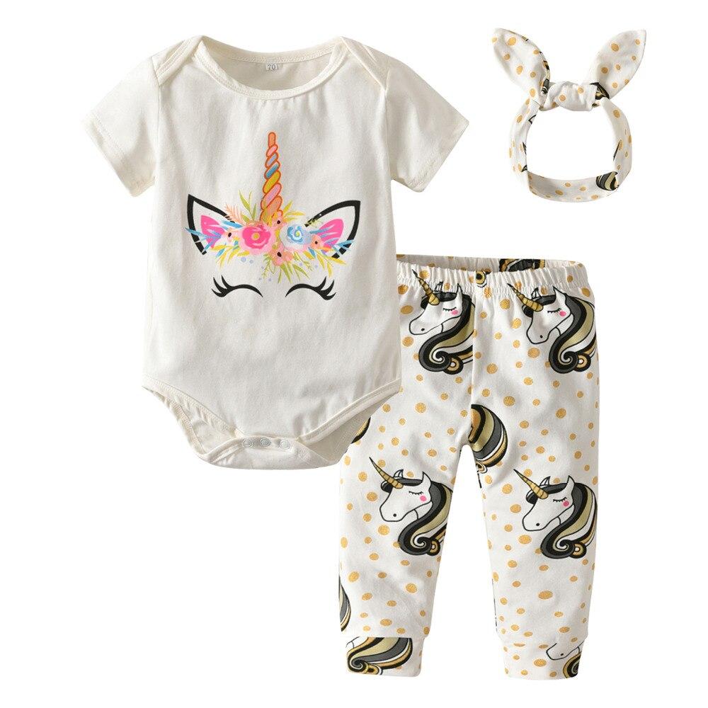 dc628e66c7f Baby Girls Clothes Newborn Infant 3Pcs Clothing Sets Cotton Cartoon Unicorn  Rompers+Pants+Headband