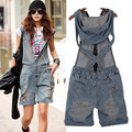 New Arrival 2014 Women Hole Short Jeans Fashion Jumpsuits Hot Pants Overalls Denim Shorts Girl Summer Cool Wear Rompers S M L XL