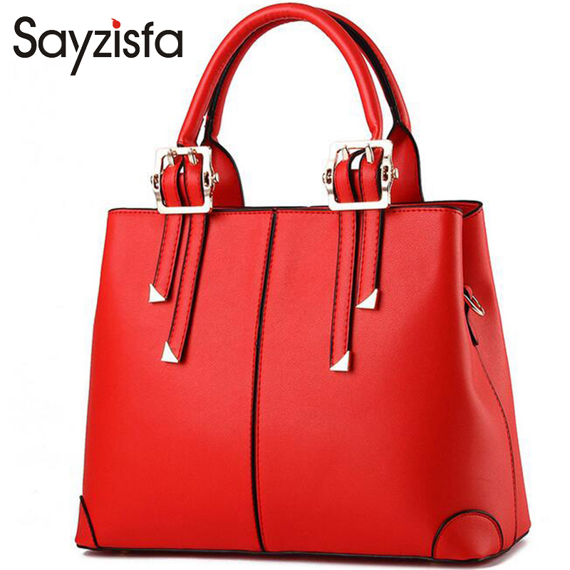 Sayzisfa 2017 Brand New Women Handbags Fashion Designer Female PU Leather Bags Ladies Shoulder Bag Ladies Bags Totes Bolsa T144 2017 new women shoulder bags solid pu leather handbags ladies brand designer bucket handbag purse bolsas feminina casual totes