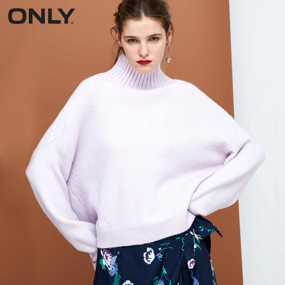 ONLY  womens' autumn new simple high collar sweater Short front and long back Lantern sleeves|118313541