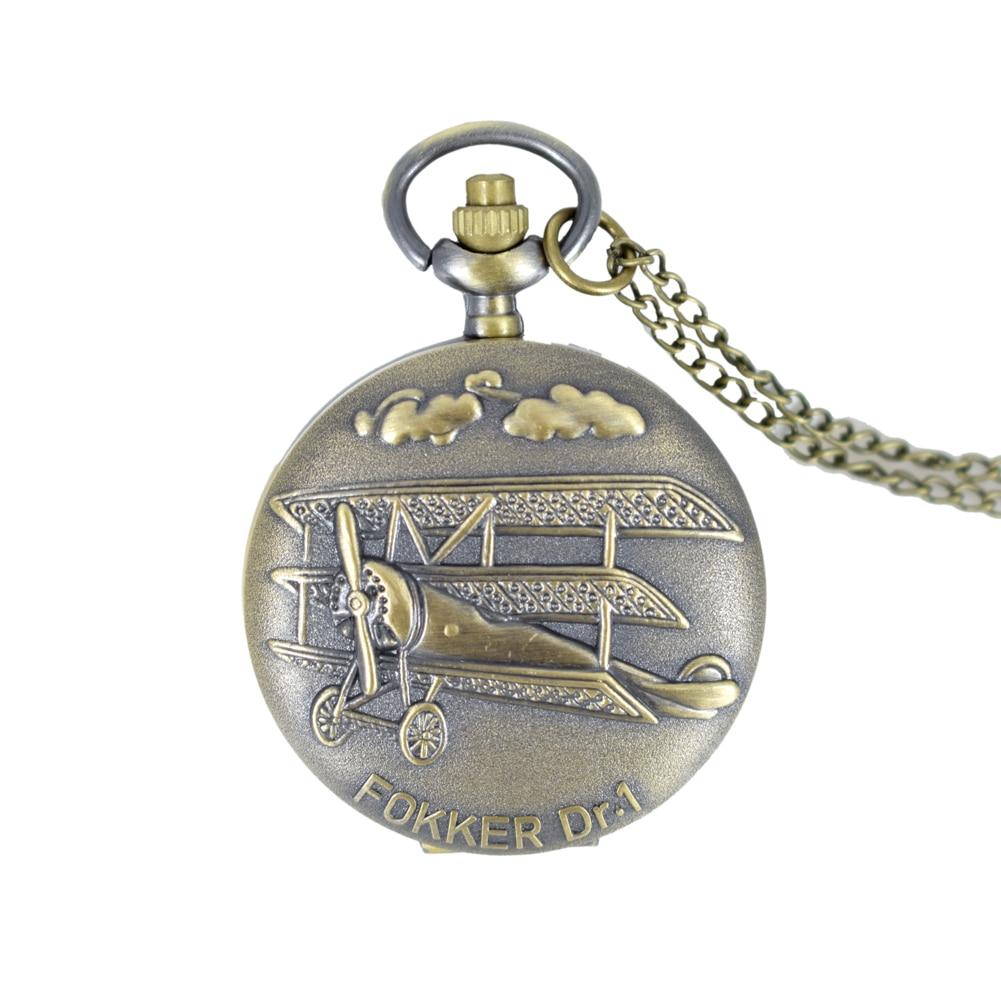 Cindiry Vintage Bronze Fokker Dr.1 Plane 3D Pattern Small Quartz Pocket Watch Necklace Pendant Men Women Gift P22