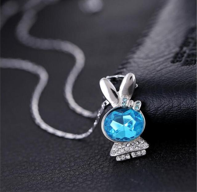 206211e94 Genuine 925 sterling silver blue crystal micro-set rabbit baby necklace  fashion cute for girls T0180