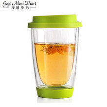 350ML kolorowe odporny na wysoką temperaturę szklanka z podwójną ścianką z silikonową i dolnej czysta kawa herbata szklany kubek herbaty Drinkware tanie tanio Przezroczysty ROUND Lfgb Ce ue Zaopatrzony Ekologiczne Szkło BL004