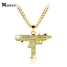 Punk Rock Uzi Necklace Men Charm Gold Silver Color Pendant Necklace Luxury Micro Crystal Submachine Gun Necklace Chain Necklace(China)