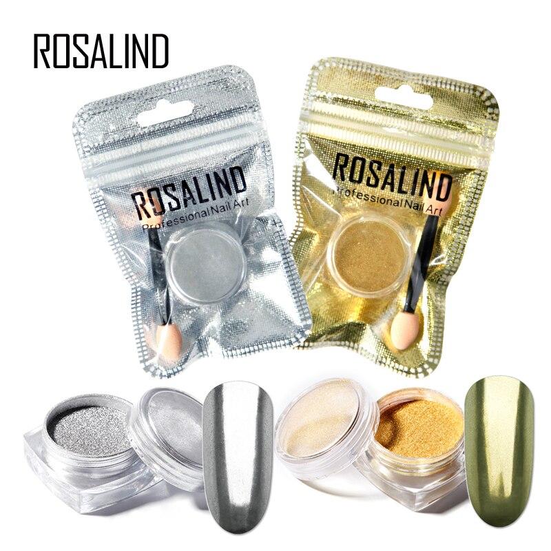 ROSALIND 1PCS  Nail Gel Polish Chrome Pigment Decoration Nail Glitter Aluminum Flakes Magic Mirror Effect Powders Sequins
