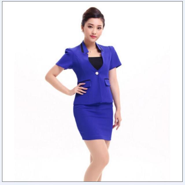 2015 frete grátis estilo verão moda mulheres formais sólidos escritório Ladies saia ternos azul carreira uniforme excelente desgaste do trabalho