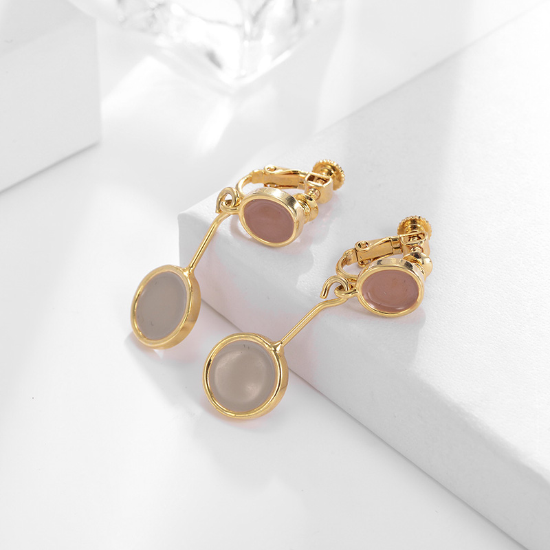 Dangler Earrings Fashion Jewelry 2019 Female Elegant 2 Colors Brincos Gold Color Drop Earrings Round Stone Pendant Ear Jewelry in Drop Earrings from Jewelry Accessories