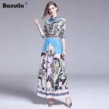Banulin New Arrival 2019 Summer Womens Turn Down Neck Long Sleeve Vintage Floral Printed Pleated Elegant Maxi Runway Dresses
