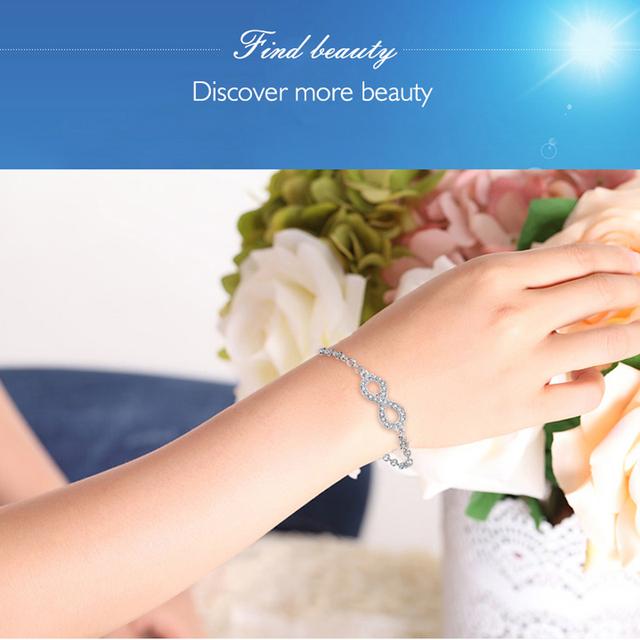 Authentic New Brand Women Infinity Bracelet CZ Crystal Charm Bracelet For Women Wedding Jewelry Gift YS1001