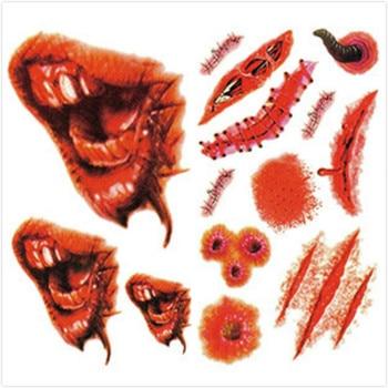 500pcs Weird Holloween Temporary Tattoo Terror Design Henna Arm Body Art Tattoos Halloween Horror Bloody Funny Tattoo Stickers