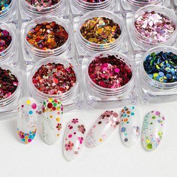 1jar Mixed Color Round Nail Glitter Flakes 3D Sequins Powder Charm Nail Art Decoration nails mermaid paillette nails Accessories image