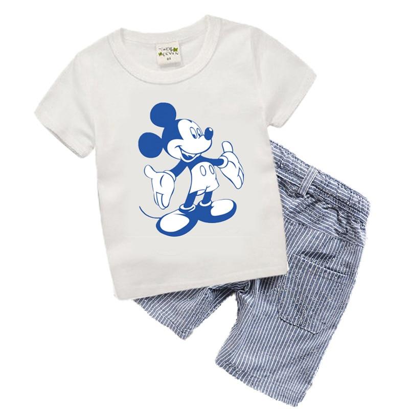 Фирменная Детская летняя одежда для маленьких мальчиков одежда Микки Малыша Обувь для мальчиков одежда Наборы для ухода за кожей Новинка 2017 года Детские шорты из хлопка футболка t6372