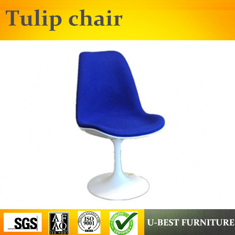 U-BEST High quality Fabric Upholster Fiberglass Tulip Side Dining Chair,Mid Century White tulip chair with blue cushion