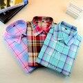 Горячий Новый Женщины Plaid Блузка Рубашка Blusa Дамы Топы С Длинным Рукавом Блузка Camisa Feminina Хлопок Женщины Топы Клетчатую Рубашку Женщин