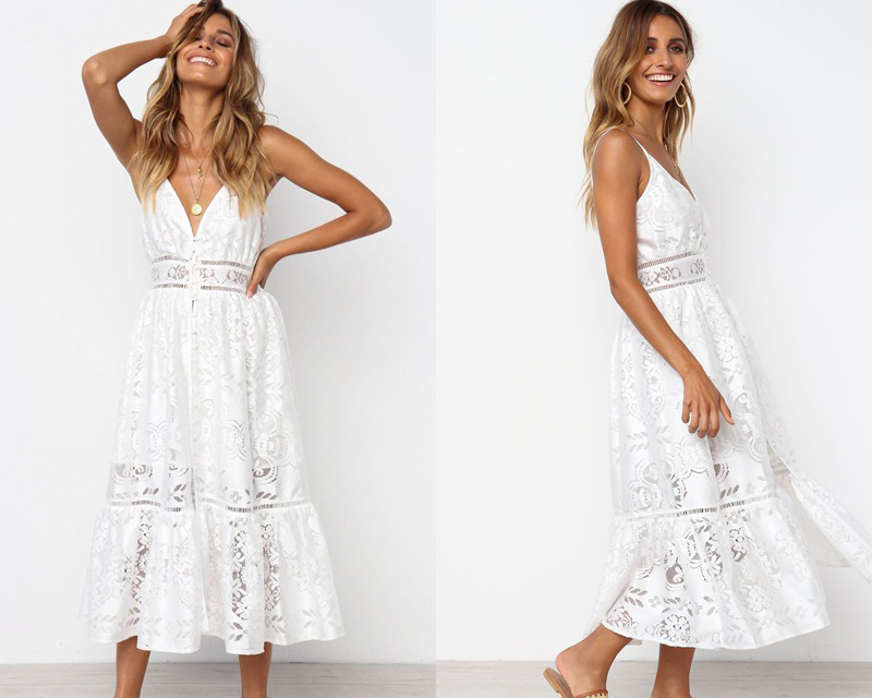 V-neck Lace Strap Button White Backless Midi Dress