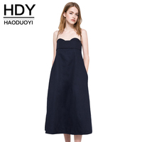 Haoduoyi 2017 Donne di Modo di Estate Solido Deep Blue Casual Spalla Off Tubino Sexy Backless Telai Spaghetti Strap Dress
