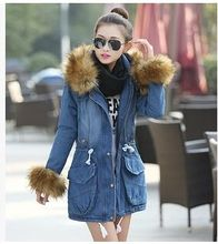 Brand New Women Winter Rabbit Fur Collar Hooded Long Denimn Jacket Long Cotton Padded Jeans Coat