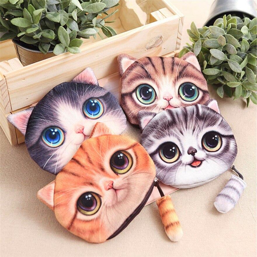 Women Cute 3D Print Cat Girls Tail Plush Change Purse Bag Porte Monnaie Cosmetic Bag Purse Female clutch femaleD