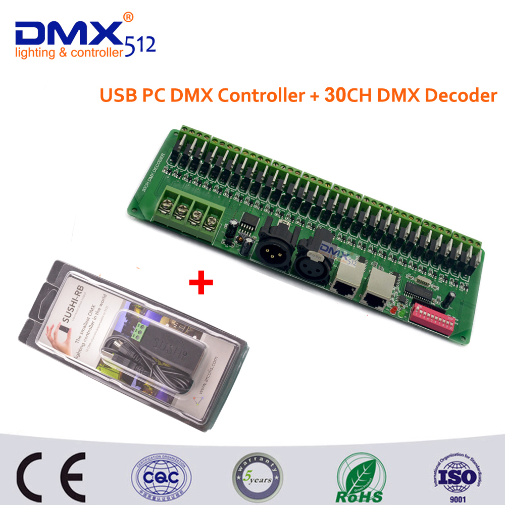Free Shipping USB DMX512 Controller Dimmer and 30 channel Easy DMX rgb LED strip controller dmx512 decoder 24ch 24channel easy dmx512 dmx decoder led dimmer controller dc5v 24v each channel max 3a 8 groups rgb controller iron case