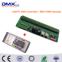 Free Shipping USB DMX512 Controller Dimmer and 30 channel Easy DMX rgb LED strip controller dmx512 decoder
