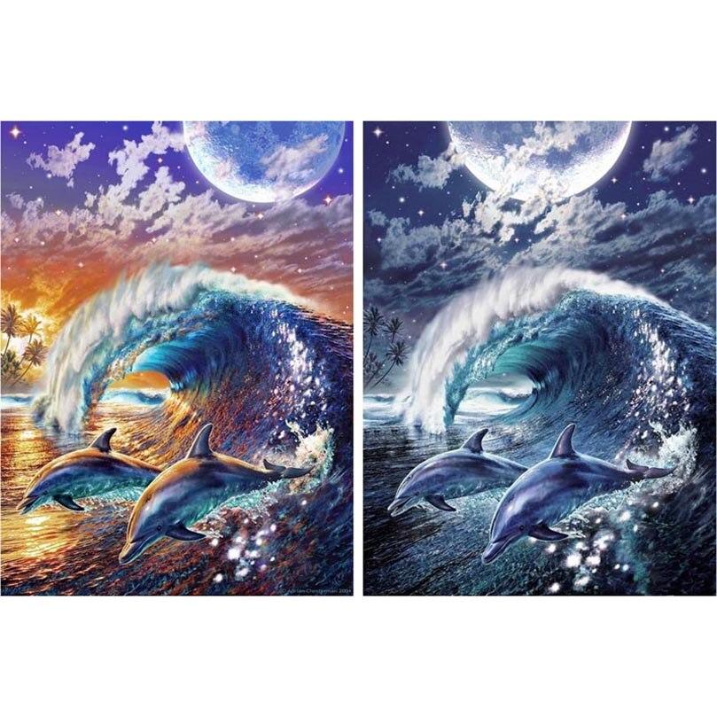 Humor Yunxi Art Diy 5d Full Diamond Mosaic Diamond Painting Cross Stitch Kit Diamonds Embroidery Square Drill Dolphin & Wave 268 Aesthetic Appearance Needle Arts & Crafts