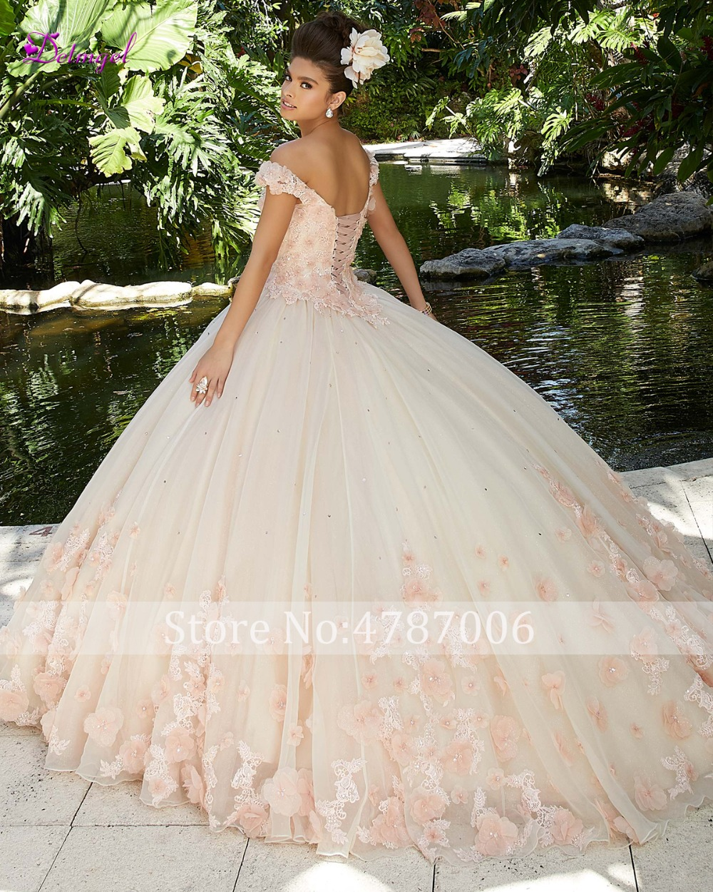 Detmgel Sexy bateau cou perlé fleurs robe de bal Quinceanera robes 2019 de luxe Appliques Debutante robe pour Vestido de 15 anos - 2