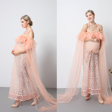 Купить с кэшбэком New Maternity Photography Props Pink Dresses Voile Maxi Dresses Pregnant Women Dress Pregnancy Romantic Fairy dress