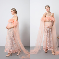 New Maternity Photography Props Pink Dresses Voile Maxi Dresses Pregnant Women Dress Pregnancy Romantic Fairy dress