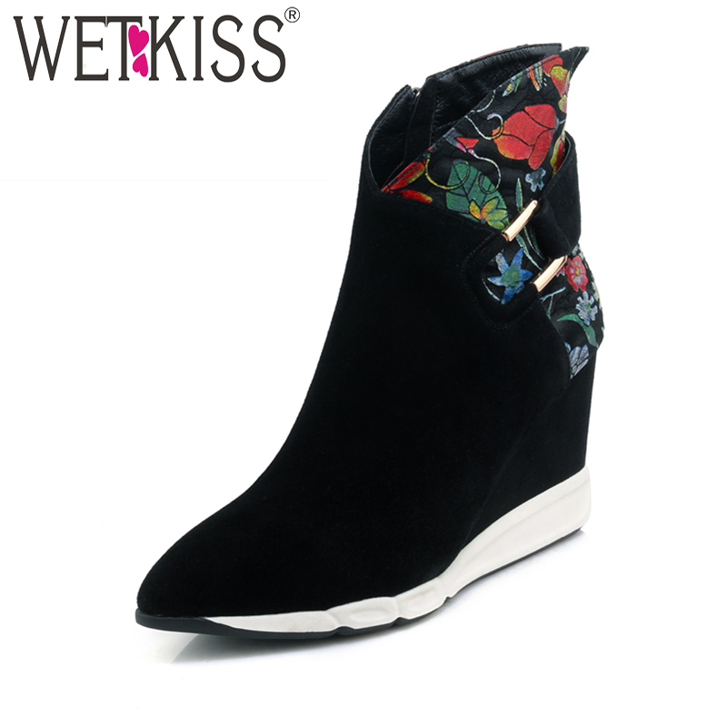 WETKISS Natural Leather Suede Ankle Boots Brand Design Floral Print Metal Winter Boots 2018 New Women's High Wedges Shoes Zip stylish men s athletic shoes with floral print and pu leather design design