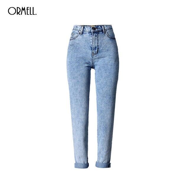 ORMELL Frauen Denim Blue Löcher Jeans Stilvolle Taschen Hohe Taille Hosen  Damen Casual Marke BF Streetwear 6fecc18afe