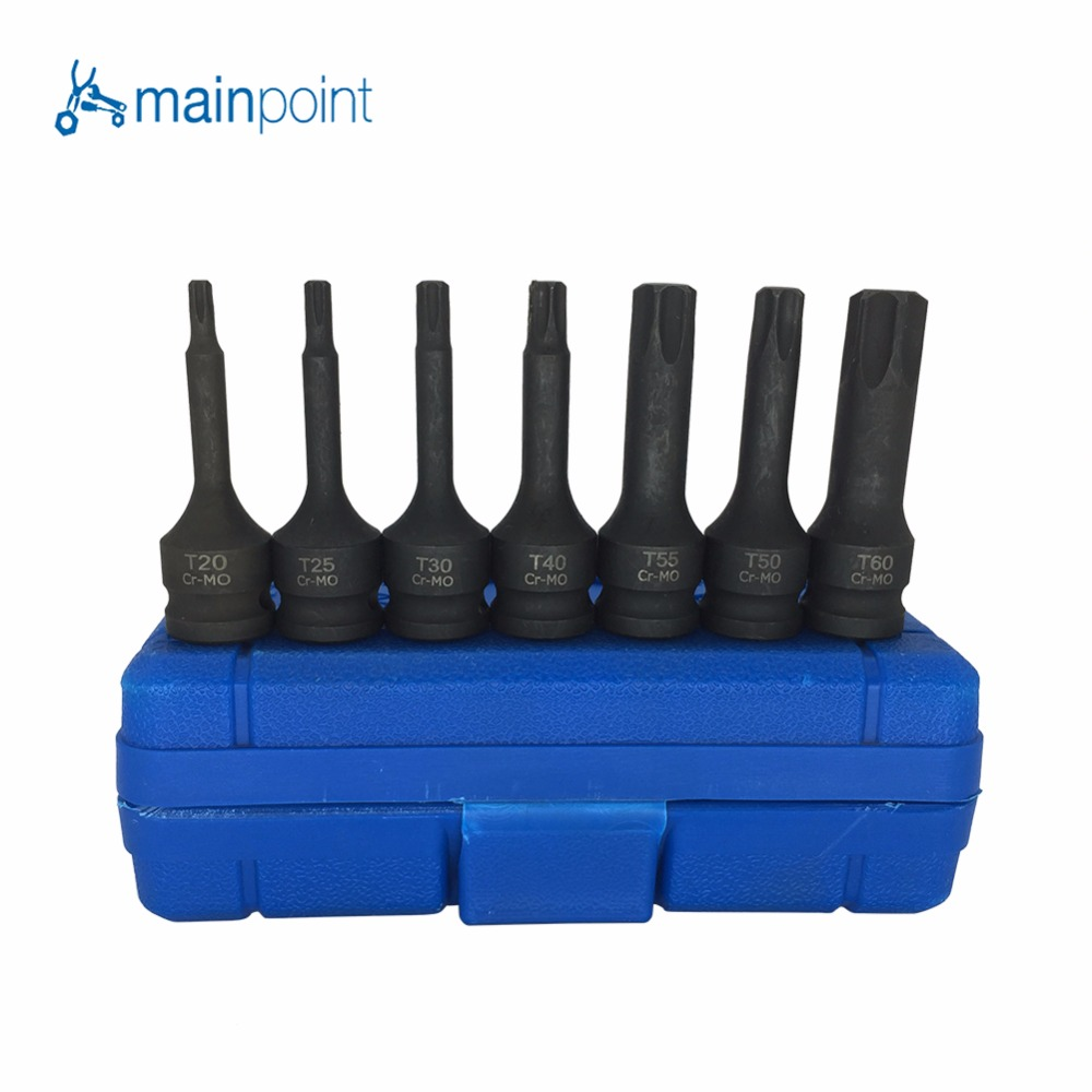Mainpoint 7Pcs Impact Socket Bits 3/8 Driver Metric Star Torx Hex Allen Spline CR-MO Ratchet Screwdriver Bit Socket Set Tools 40pcs set hex star spline socket screwdriver bit set 1 2 3 8 drive sockets power tool bits set car van repair tools kits