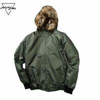 Aelfric Eden Hi Street Kanye West Hooded Coats Men Detachable Fur Collar Bomber Jacket Men S