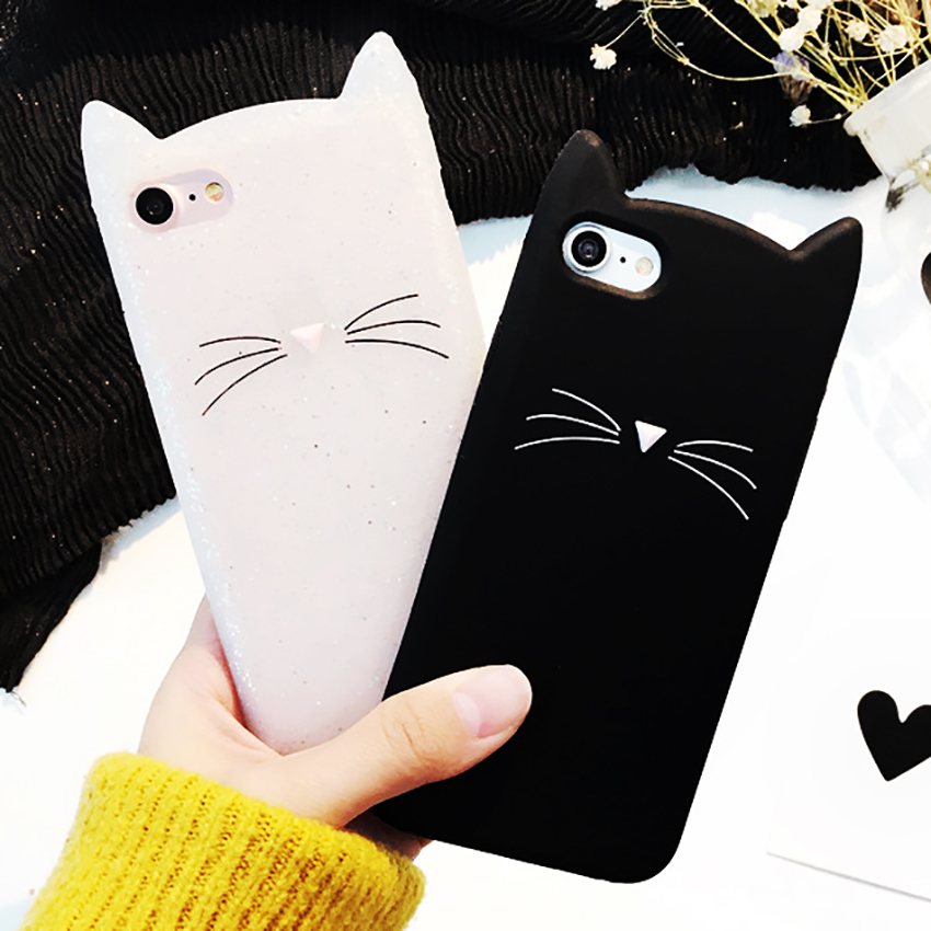 For Samsung Galaxy S6 S7 Edge S8 S9 Plus A3 A5 A7 A8 J3 J5 J7 J2Prime Case Cute 3D Black Beard Cat Ears Cartoon Soft Cover Capa